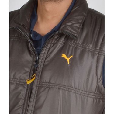 Branded Sleeveless Bomber Jacket (Polyester) For Men _PUMA-BROWN -  Brown