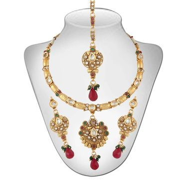 Panini Gold Plated Necklace Set - Multicolour _ 69