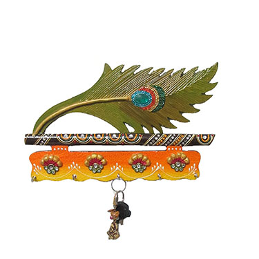 eCraftIndia Paper-Mache Moor Pankhi Key Holder - Multicolor