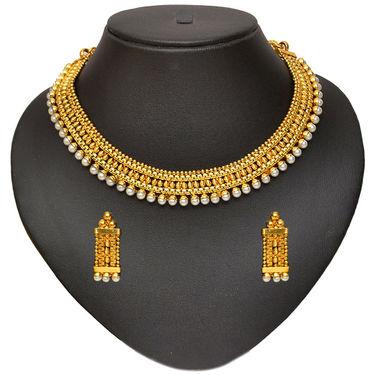 Pourni Pearl Necklace Set - Yellow - SD220