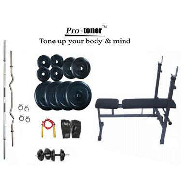 Protoner Weight Lifting Package 50 Kgs + 5 ft. Straight+ 3 ft. Curl Rod + Inc/Dec/Flat 3 In 1 Bench