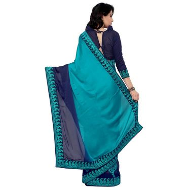 Indian Women Satin Chiffon Printed Saree -RA10605