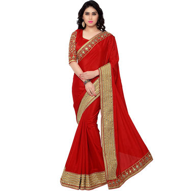 Indian Women Satin Chiffon Printed Saree -RA10610
