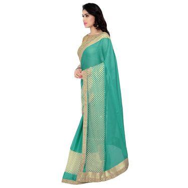 Indian Women Moss Chiffon Printed Saree -RA10617