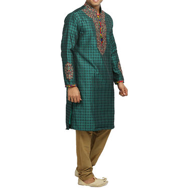 Runako Silk Full Sleeves Kurta Pyjama_RK4065 - Sea Green