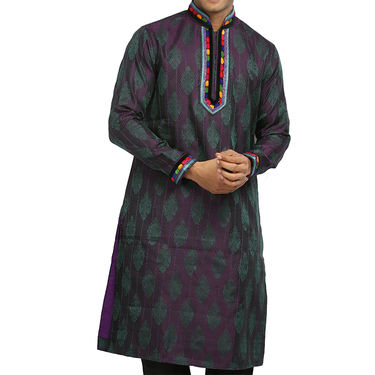 Runako Silk Full Sleeves Kurta Pyjama_RK4066 - Blue Violet
