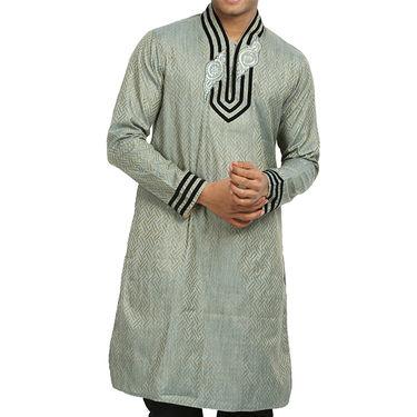 Runako Silk Full Sleeves Kurta Pyjama_RK4068 - Silver Grey