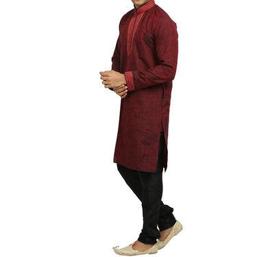 Runako Regular Fit Printed Party Wear Kurta Pyjama For Men_RK4070 - Maroon