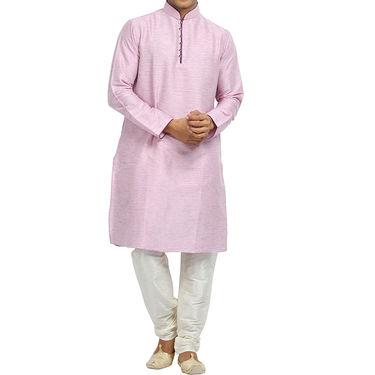 Runako Silk Full Sleeves Kurta Pyjama_RK4076 - Light Pink