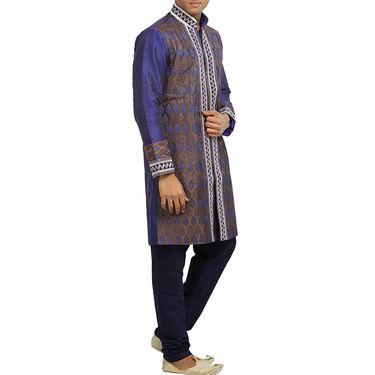 Runako Silk Full Sleeves Kurta Pyjama_RK4084 - Chocolate & Purple