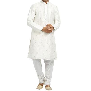 Runako Silk Full Sleeves Kurta Pyjama_RK4094 - White