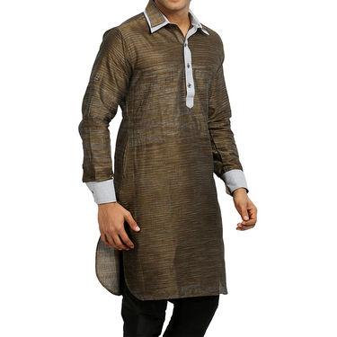 Runako Regular Fit Printed Party Wear Pathani Kurta For Men_RK4098 - Golden