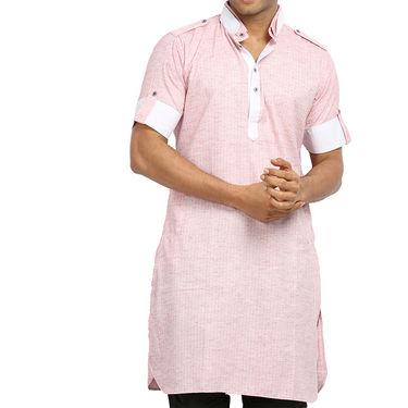 Runako Regular Fit Printed Party Wear Pathani Kurta For Men_RK4110 - Pink