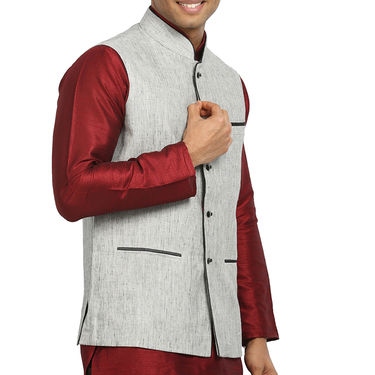 Runako Linen Sleeveless Nehru Jacket_RK4127 - Grey