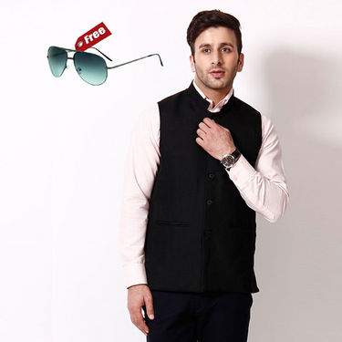 RPB Lined Cotton Nehru Jacket - Black_RNJ-111-Black