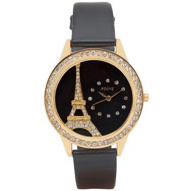 Adine Analog Round Dial Wrist Watch For Women_Rsw16 - Black