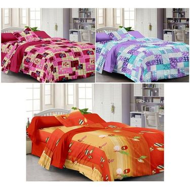 Set of 3 Cotton Single Bedsheet With 3 Pillow Cover-SP_1216_1217_1218