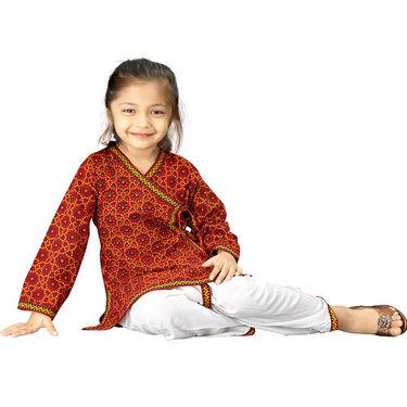 Little India Sanganeri Bandhej Dhoti Angarkha - Multicolour - DLI3KED204A