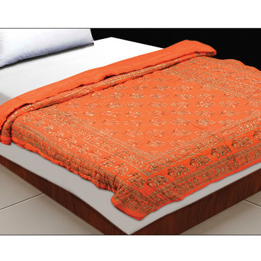 Set of 2 Orange Jaipuri Cotton Razai with Gold Prints