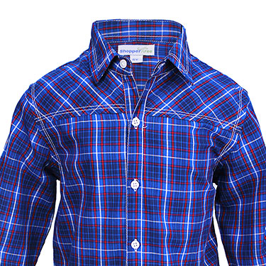 ShopperTree Checks Shirt for Boy - Blue