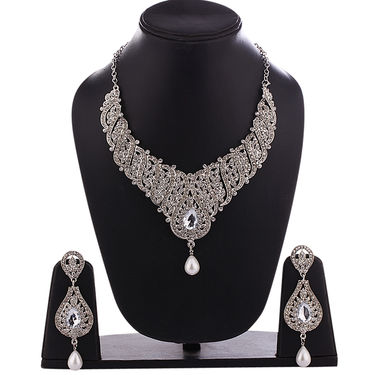 Sia Traditional Rhodium Plated Necklace Set - White _ NSET_SIA502