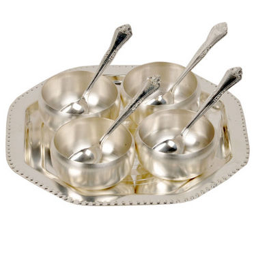 Silver Polish 4 Brass Bowl 4 Spoon and Tray Set 333