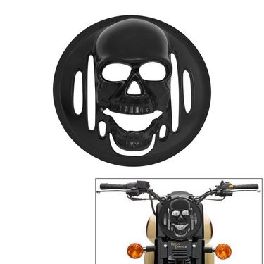 AutoStark Bike Headlight Mat Black Skull Cover- All Royal Enfield Bike