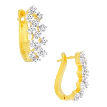Spargz CZ Stone Designer Hoop Earrings - White _AIER155