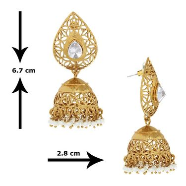 Spargz Pear Shape Jhumka Earrings - White _AIER369