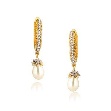 Spargz American Diamond Designer Earrings - White _AIER400