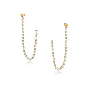 Spargz Chain Style Earrings Cuff - White _AIER428