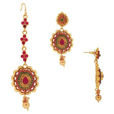 Spargz Designer Necklace Set with MaangTikka - Red & Green _ KNS3012