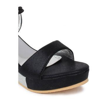 Do Bhai Faux Leather Heels Sparkle-Gola-Black