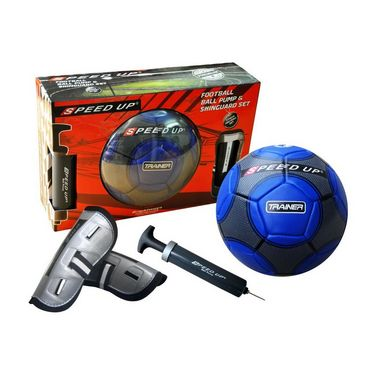 Speed Up Trainer 3 Pcs Set - Blue Football Size 5, Ball Pump, Shinguard