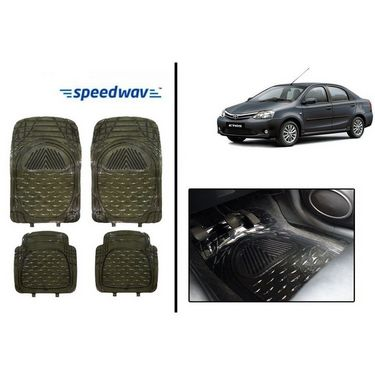 Speedwav Transparent Black Car Floor / Foot Mats - Toyota Etios