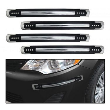 Car Bumper Safety Guard Protectors - Black with Chrome Finish