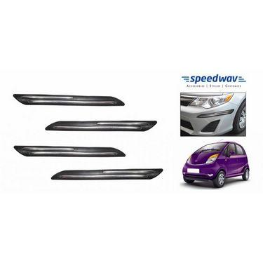 Speedwav Car Black Twin Chrome Bumper Scratch Protector-Tata Nano