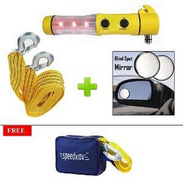 Speedwav Car Emergency Combo 5-in-1 Tool Kit, Tow Cable & Blind Spot Mirror