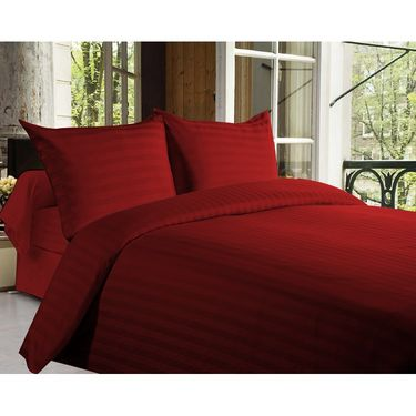 Story @ Home 300 TC 100% Cotton Red King Size 1 Bedsheet + 2 Pillow Cover-FE2051