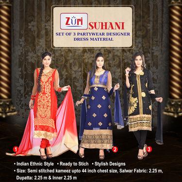 Suhani Set of 3 Partywear Designer Dress Material by Zuri (DDM1)