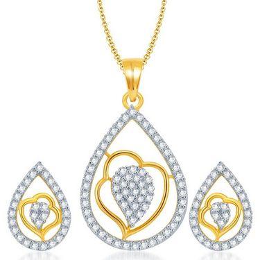 Sukkhi Exquisite Gold & Rhodium Plated Pendant Set - White & Golden - 4070PSCZL1660