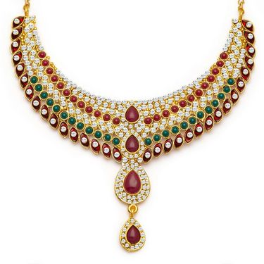 Sukkhi Magnificent Gold Plated Necklace Set - Golden - 2136NADV2900