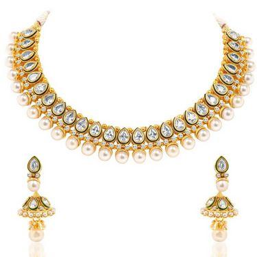 Sukkhi Eye-Catchy & Fascinating Gold Plated Necklace Set - Golden - 2157NADV3250