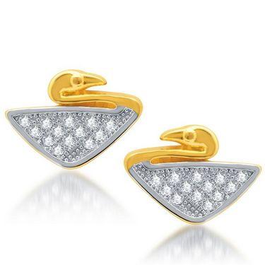 Sukkhi Modern Gold and Rhodium Plated Earrings - Golden & White - 183EARSDPVTS350