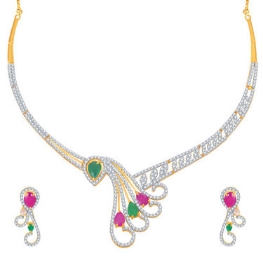 Sukkhi Estonish Ruby and Emerald Studded Gold and Rhodium Plated CZ Necklace Set