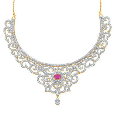 Sukkhi Indian Wedding Ruby Studded Gold and Rhodium Plated CZ Necklace Set