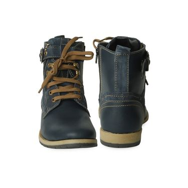 Ten Synthetic Leather Blue Boots -ts171