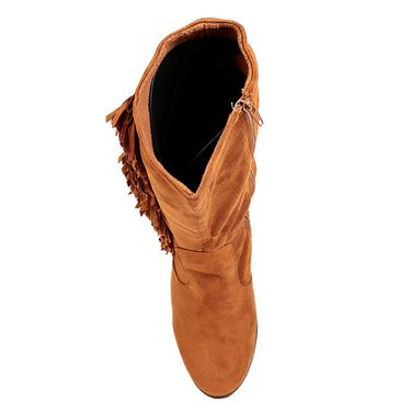 Non Leather Tan Boots For Womens -tb13