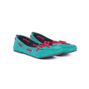 Ten Suede Leather 083 Women's Loafers - Green