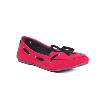 Ten Suede Leather 084 Women's Loafers - Red